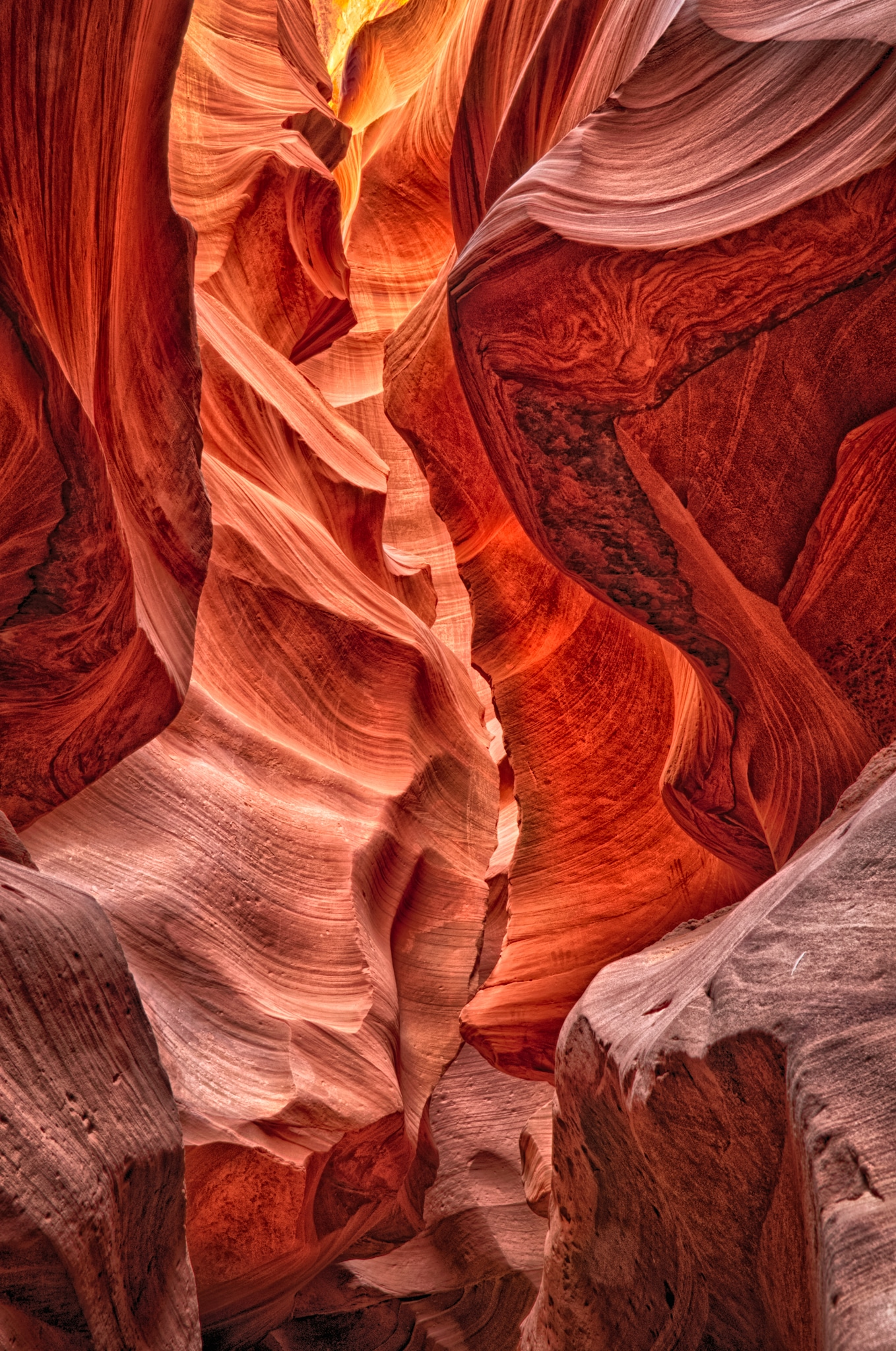 View through Lower Antelope Canyon, a slot canyon just east of Page, Arizona.