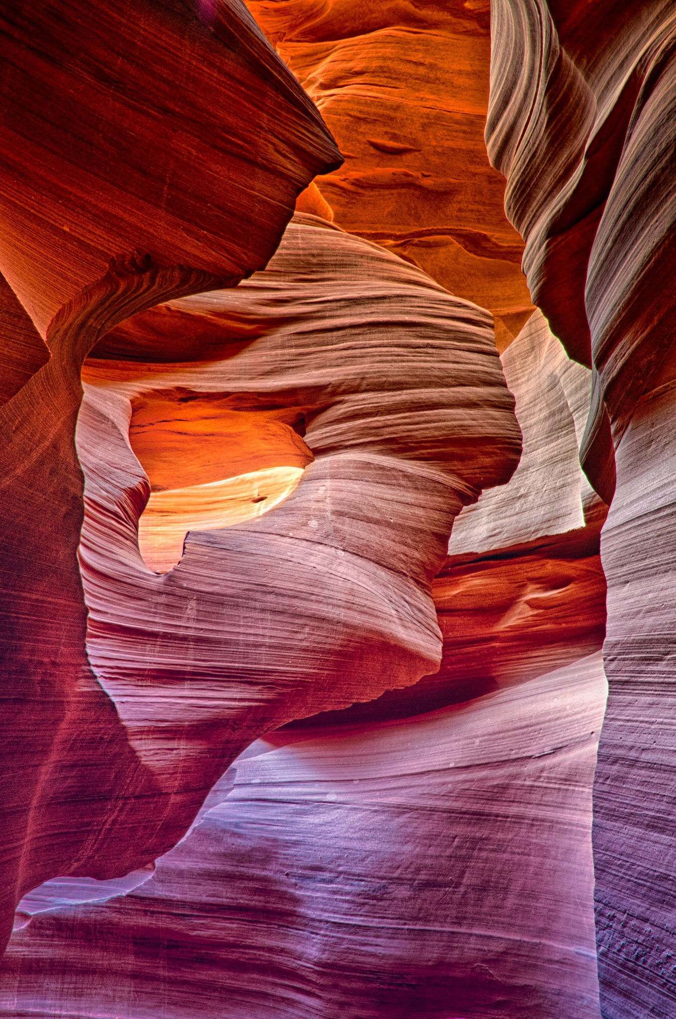 Sandstone swirls of Lower Antelope Canyon, east of Page, Arizona, are caused by flash floods.