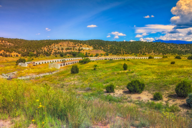 Along Colorado Highway 12 (the Highway of Legends) near Cokedale are the ruins of coke ovens. From a distance, these structures are reminiscent of ancient Roman ruins.