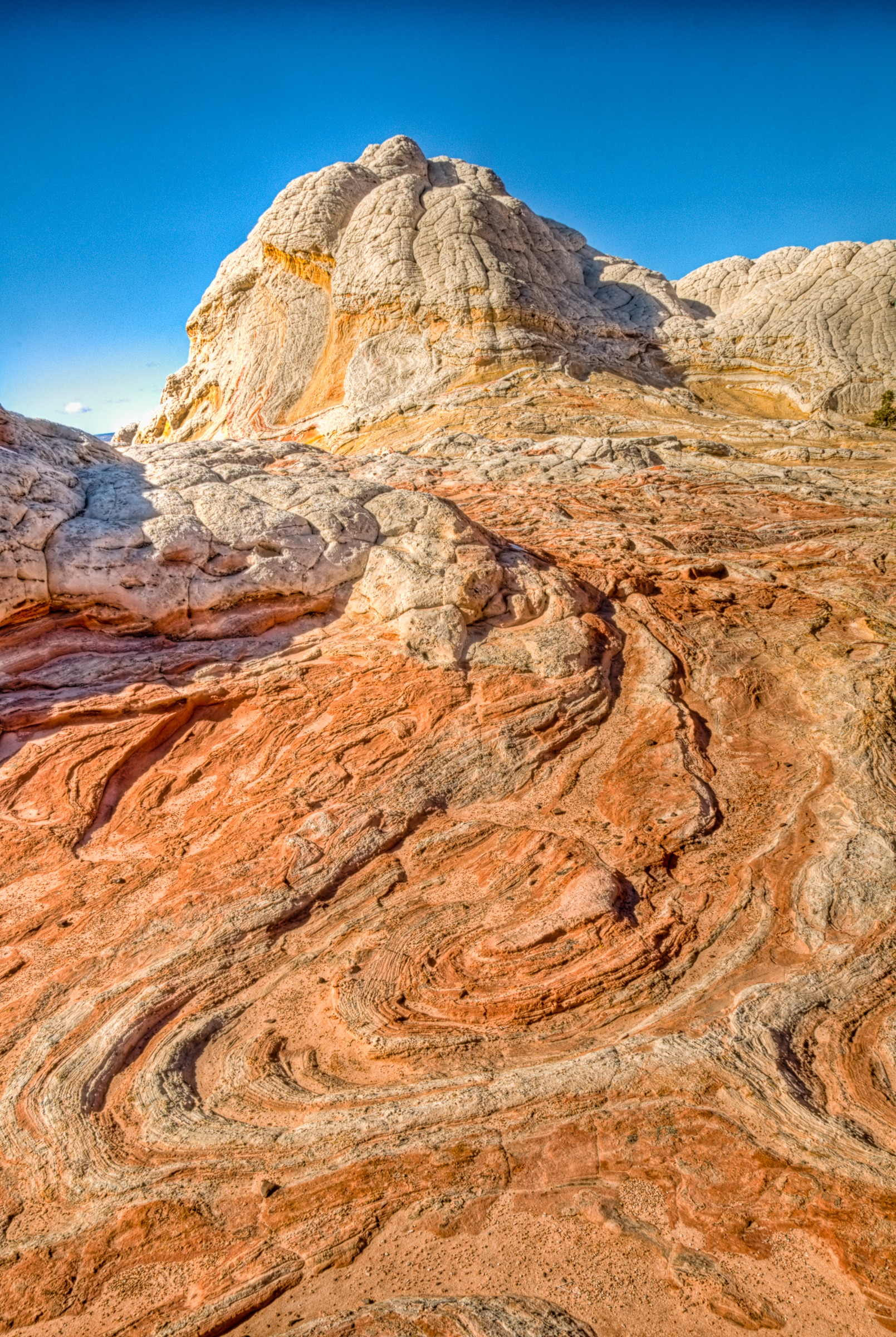 Swirled sandstone at White Pocket in the South Coyote Buttes area of the Vermillion Cliffs National Monument.