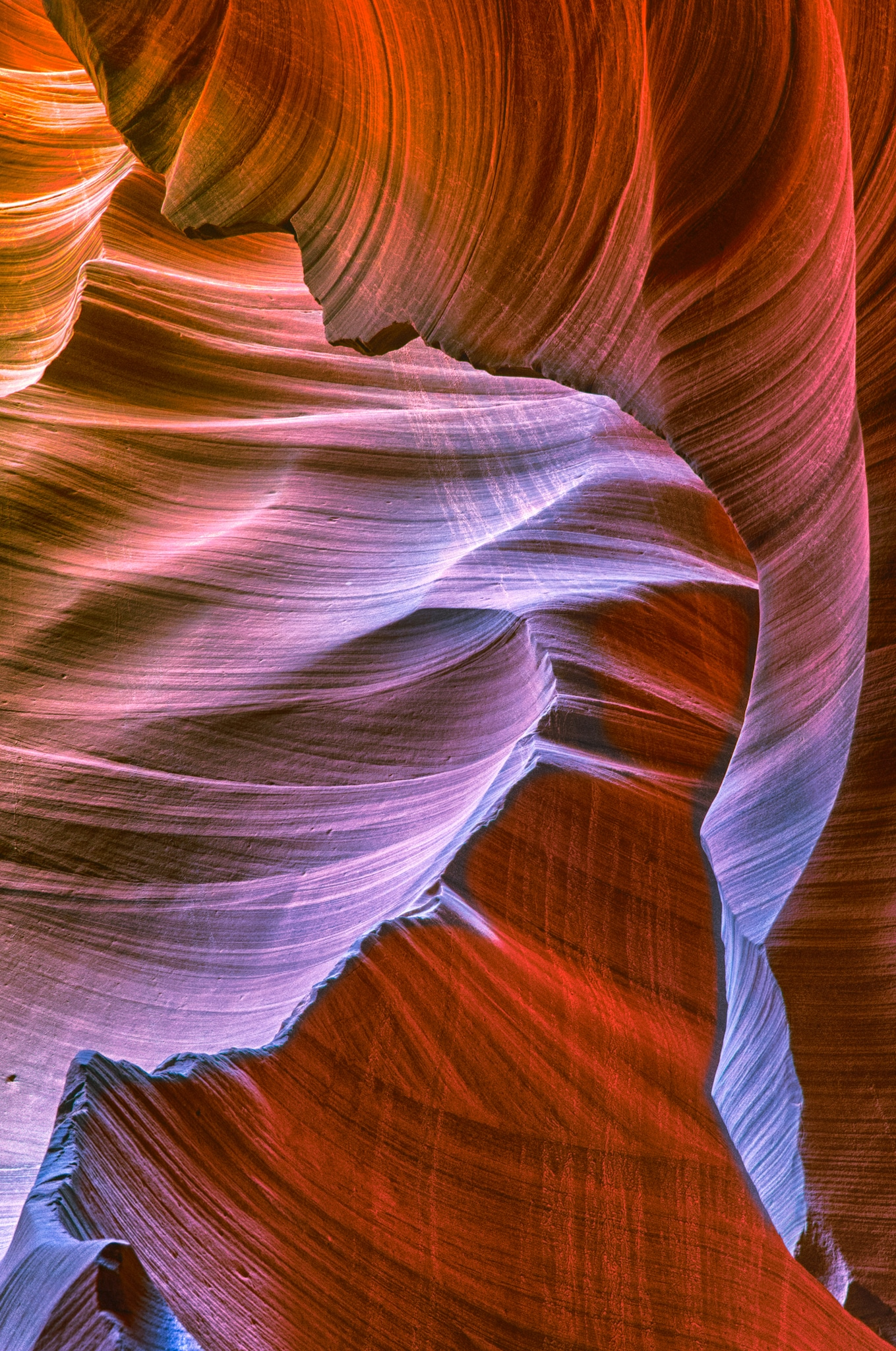 Sandstone swirls of Lower Antelope Canyon, east of Page, Arizona.
