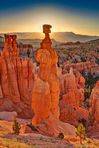 View of Thor's Hammer from the Navajo Loop Trail in Bryce Canyon National Park, Utah.