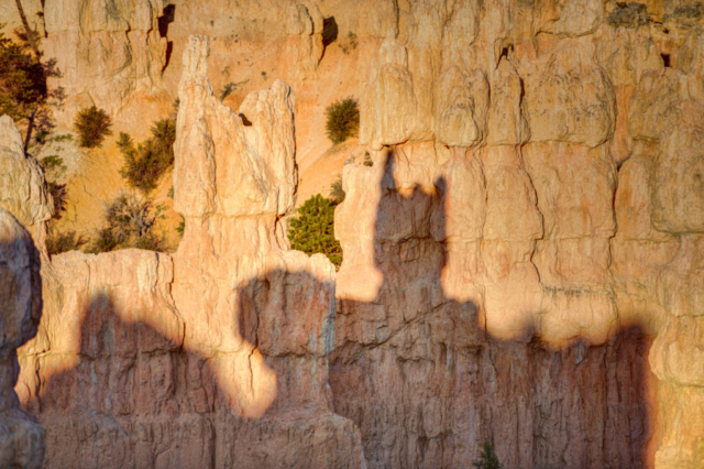 The morning sun casts an interesting shadow on hoodoos in the Fairyland area of Bryce Canyon National Park, Utah.
