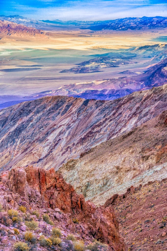 A view looking northward toward Furnace Creek from Dante's View, in the Black Mountains, 13 miles southwest of Highway 190 in Death Valley National Park, California.