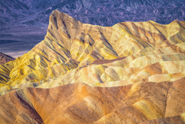 This view of Manly Beacon is accessible from the Zabriskie Point Overlook, which is accessible from Highway 190 in Death Valley National Park.