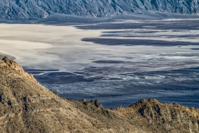 This is a view of Badwater Basin from Aguereberry Point, accessible by a dirt road off Emigrant Canyon Road in Death Valley National Park