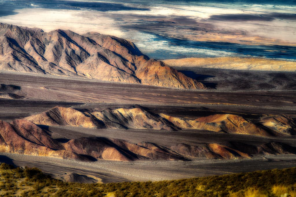 From Aguereberry Point, accessible by a dirt road off Emigrant Canyon Road in Death Valley National Park, you can see rills and valleys filled with erosional alluvium scoured out of the Panamint Range into the Death Valley Basin.