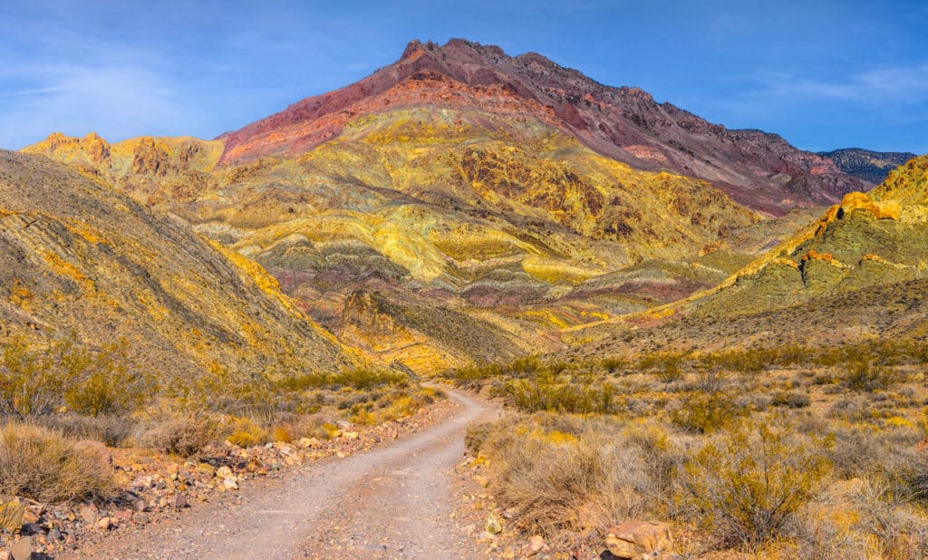 This colorful strata, seen on the road to Titus Canyon in Death Valley National Park, is the Titus Canyon Formation, which is mostly sandstone and conglomerates. The road travels through this formation, allowing for an up-close and personal view.