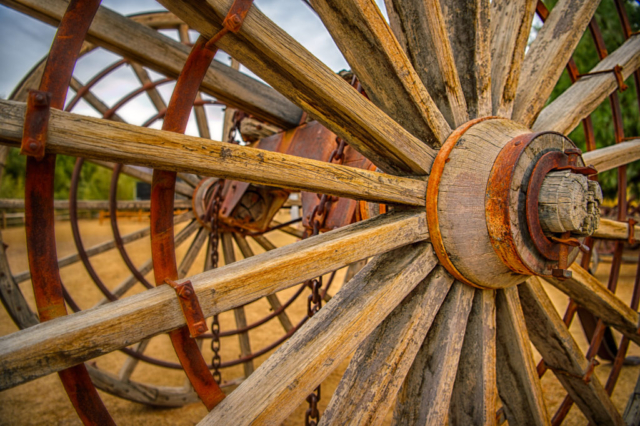 This huge wooden wagon wheel is part of an exhibit at the Borax Museum at Furnace Creek in Death Valley National Park, California.