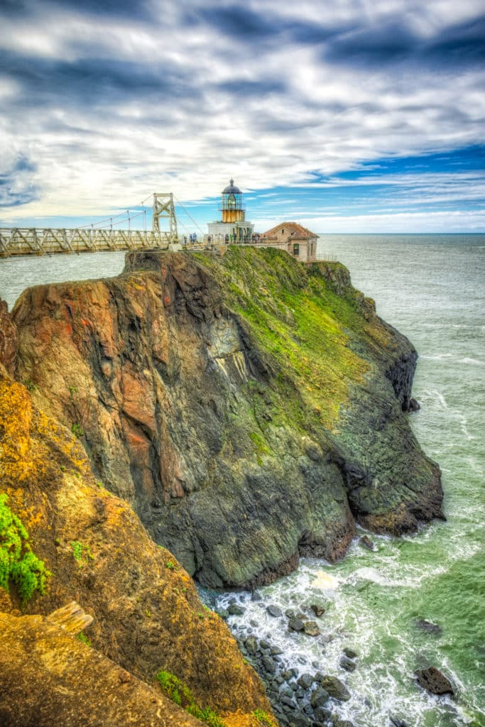 Point Bonita Lighthouse is located at Point Bonita, which is at the San Francisco Bay entrance in the Marin Headlands near Sausalito, California. Point Bonita was the last manned lighthouse on the California coast.