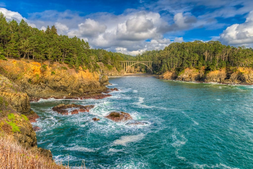 The graceful arch of the Russian Gulch Bridge, also known as the Frederick W. Panhorst Bridge, spans the Russian Gulch Creek in Russian Gulch State Park, Mendocino County, California.