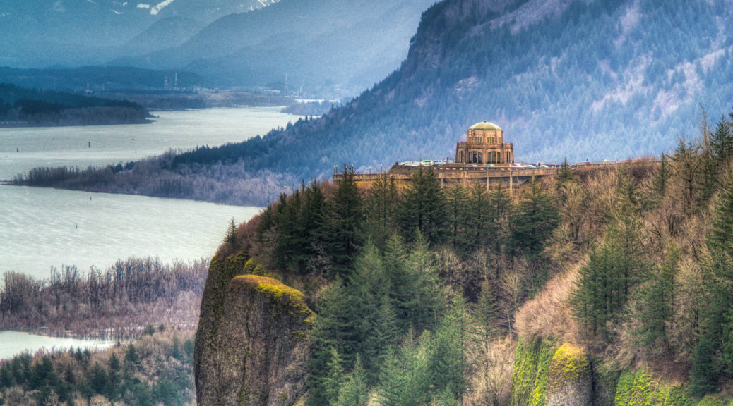 This is a view of Vista House at Crown Point taken from Chanticleer Point, also known as the Portland Women's Forum Viewpoint, along the Columbia River gorge off Historic Columbia River Highway.