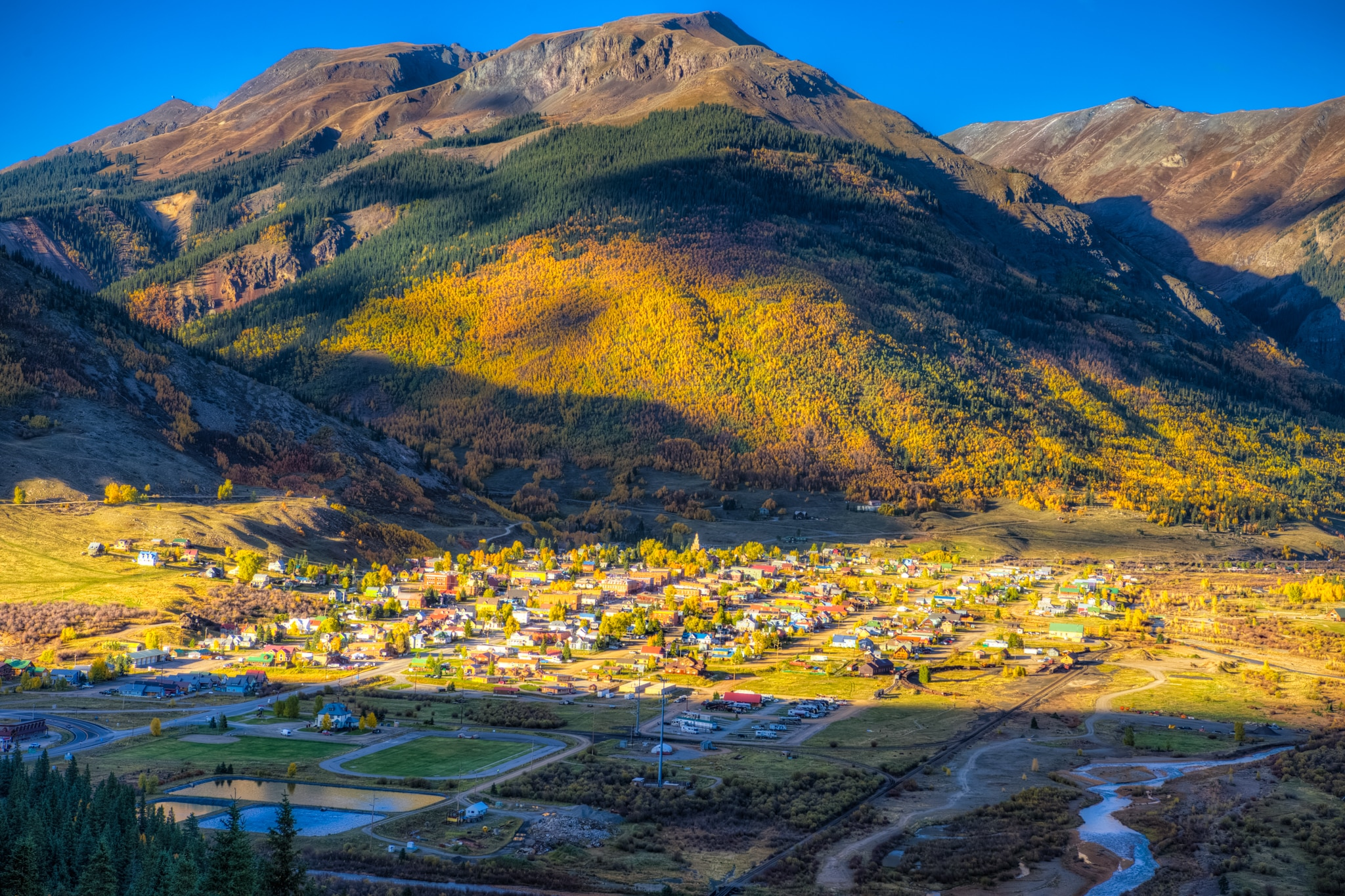 A view of Silverton,. Colorado, taken from an overview south of town on Highway 550.