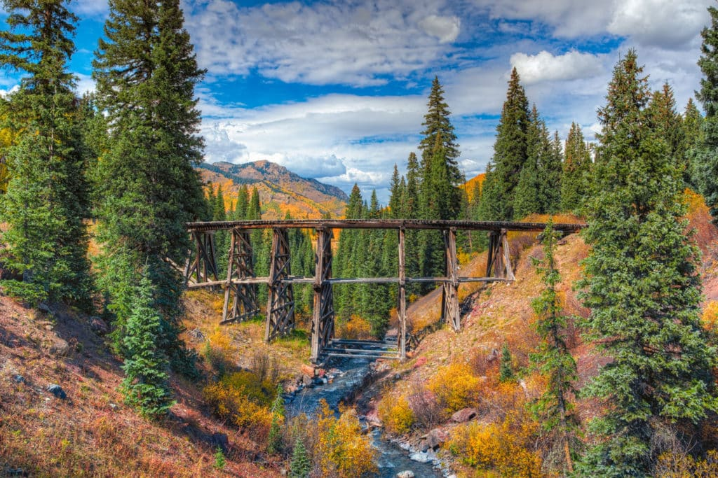 Trout Lake Trestle is one of the last surviving wooden trestle bridges constructed by the Rio Grande Southern Railway.