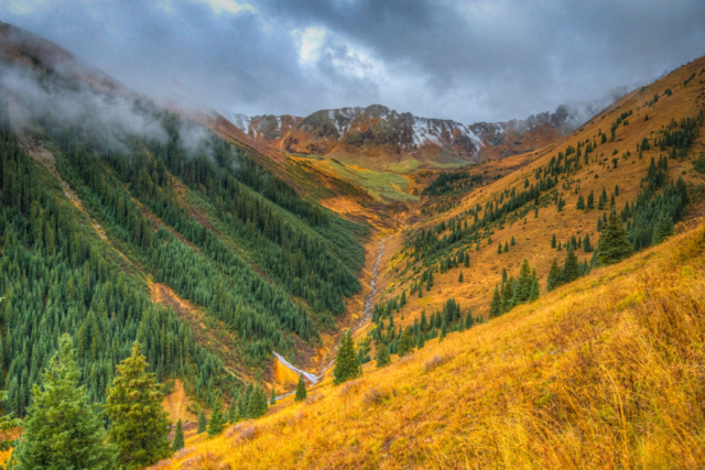 A view along Ophir Pass road as it heads up to the pass toward Ophir, Colorado, near Telluride.