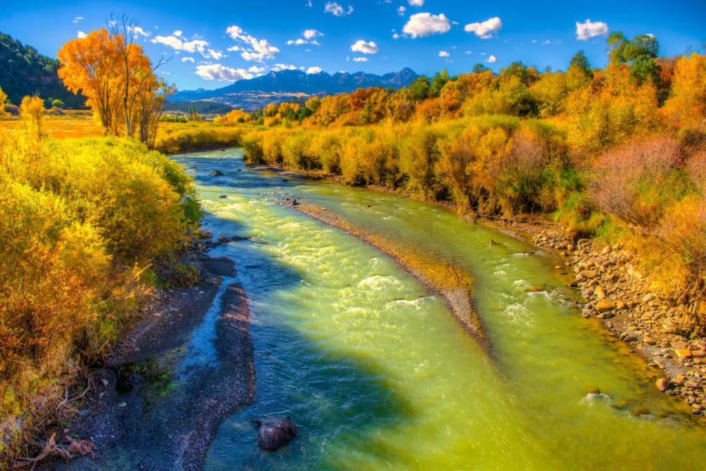 The Uncompahgre River is a beautiful green color as it heads from Ouray, Colorado, to join the Gunnison River near Delta, Colorado. Fall foliage lines the banks near Ridgway State Park on Highway 550.