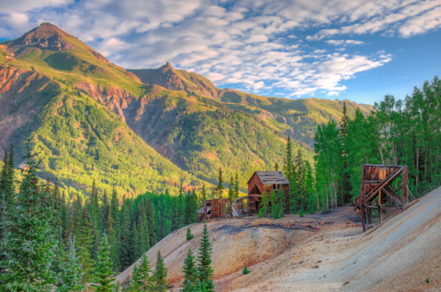 The remains of the Guston Mine and town site viewed from a mine dump on Ouray County Road 31 near Ouray Colorado.