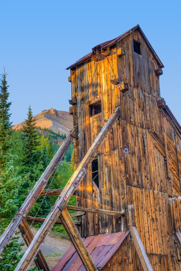 An early morning close-up view of the Yankee Girl Mine headframe viewed from Ouray County Road 31 near Ouray, Colorado.