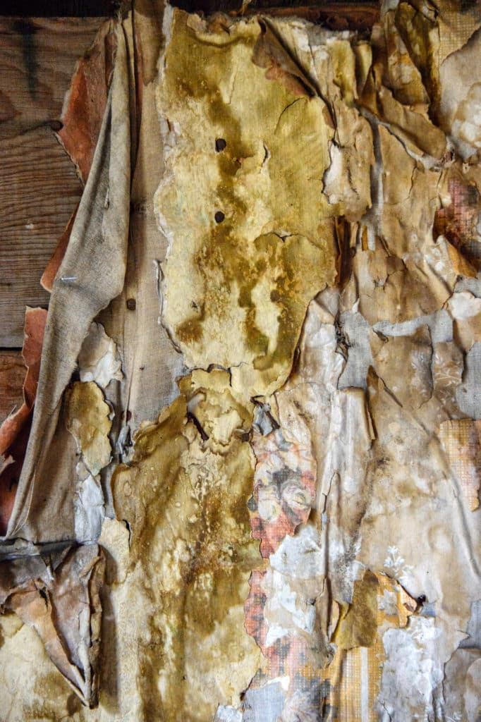 This is a close-up view of old wood and other materials covering the interior of a structure located in the Animas Forks townsite, northest of Silverton, Colorado, on San Juan County Road 2 near the Alpine Loop.