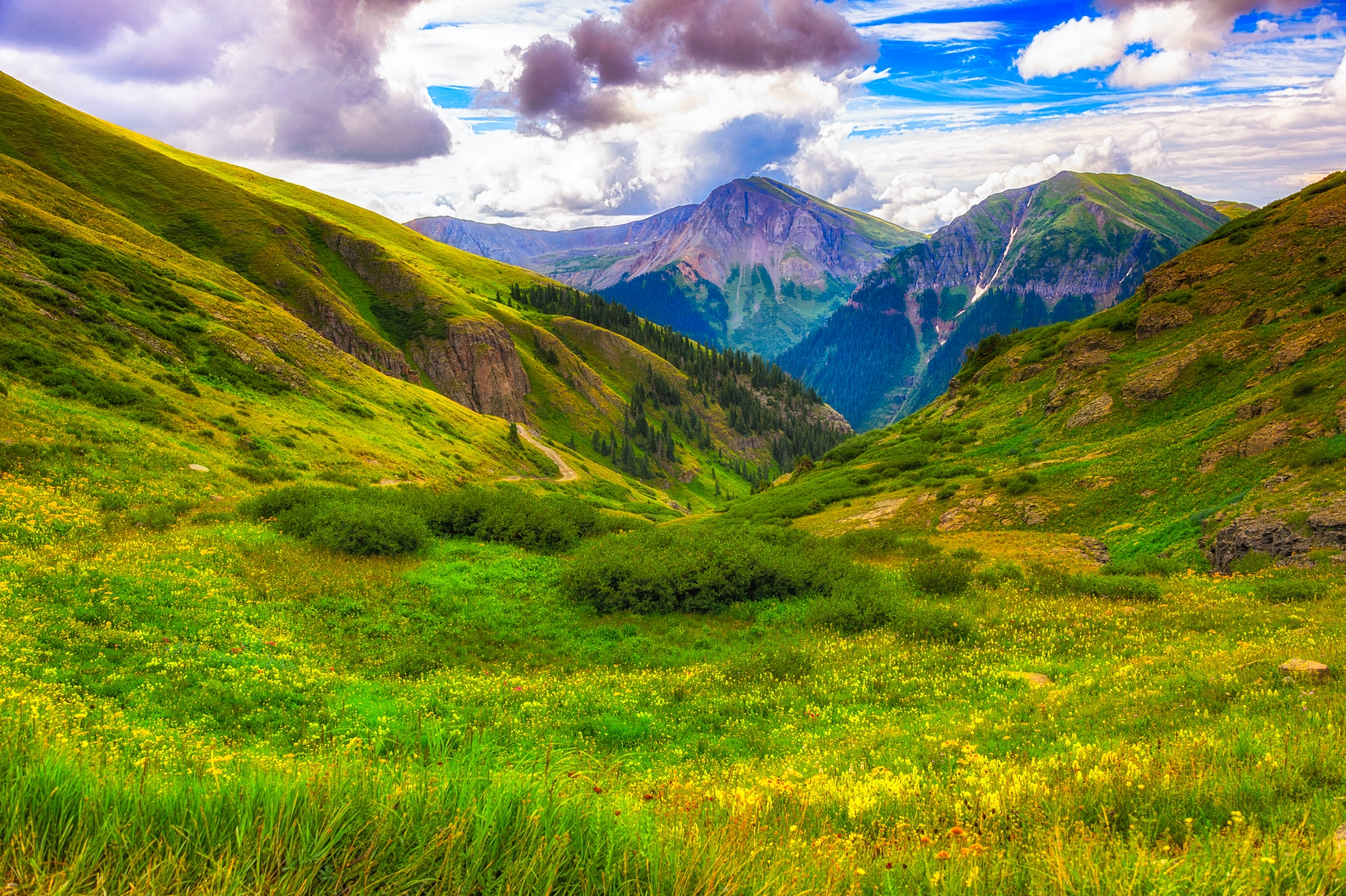 Looking back along FS 815 toward the switchbacks, located in the mountains between Ouray and Silverton, Colorado.