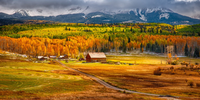The Schmidt Ranch, a Colorado Centennial farm sourrounded by brilliant autumn aspens and snow-capped mountains, is on Wilson Mesa off Silver Pick Road near Telluride, Colorado.