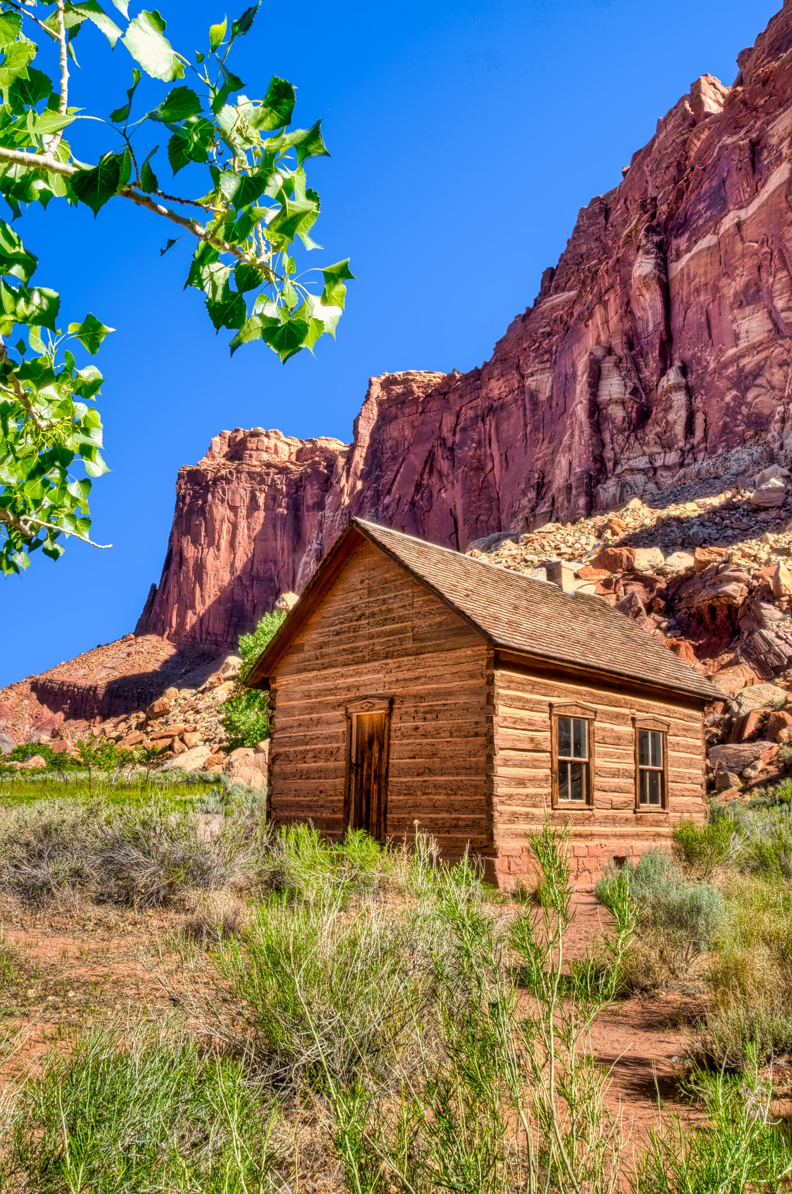 Historic schoolhouse in the Fruita district of Capitol Reef Natioal Park.