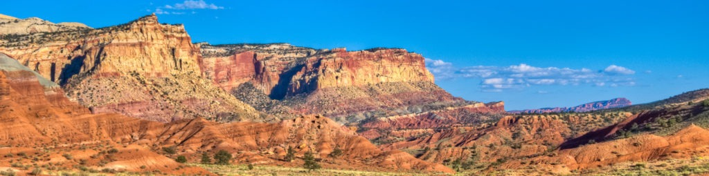 Cliff faces along Scenic Drive in Capitol Reef National Park.