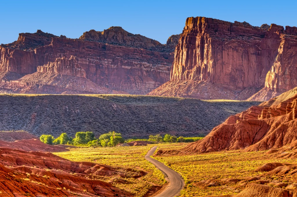 Looking north along Scenic Drive in Capitol Reef National Park.