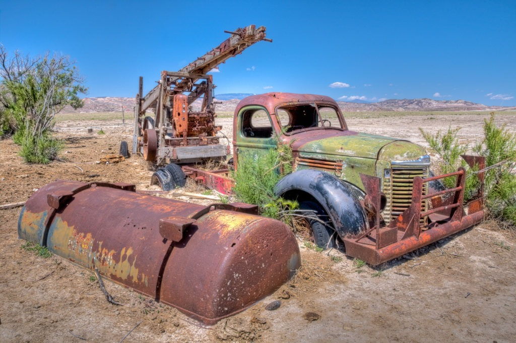 A drilling rig sits buries in the sand along the Hartnett Road just east of Capitol Reef National Park in Utah.