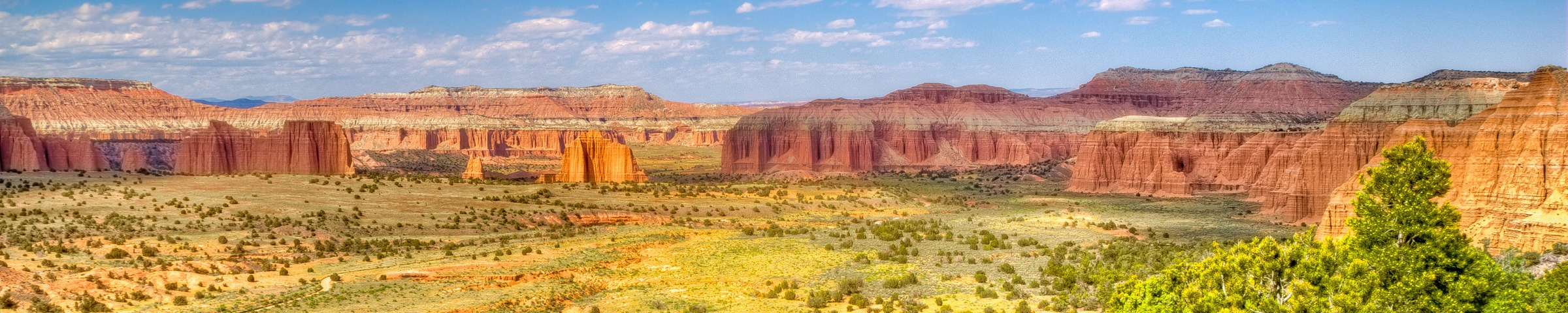 Panoramic view of Cathedral Valley in Capitol Reef National Park, Utah, with the Temples of the Sun and Moon in the distance.