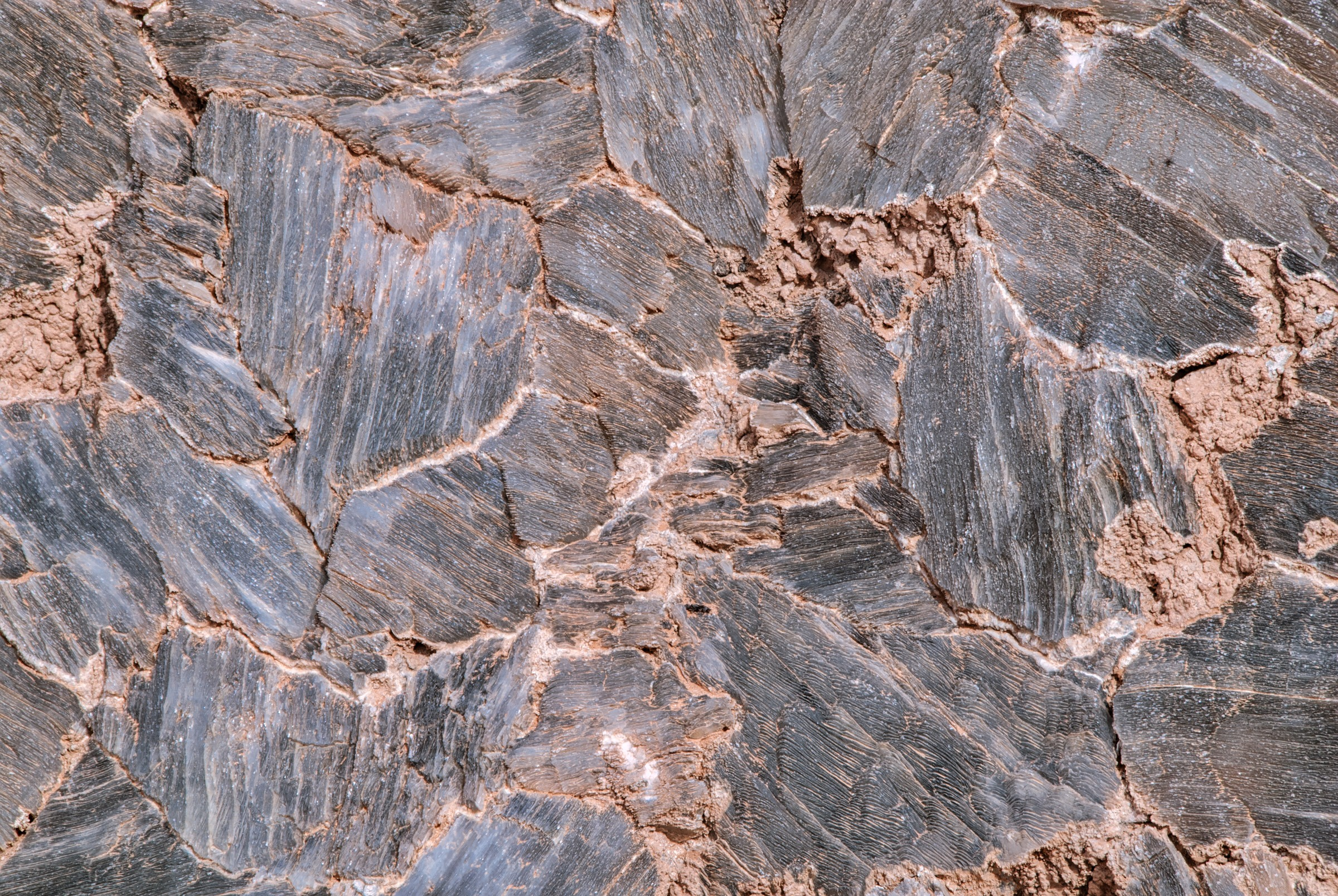 This is a close-up view of large gypsum (selenite) crystals that make up the oddity called Glass Mountain. Class Mountain is located in Cathedral Valley of Capitol Reef National Park in Utah.