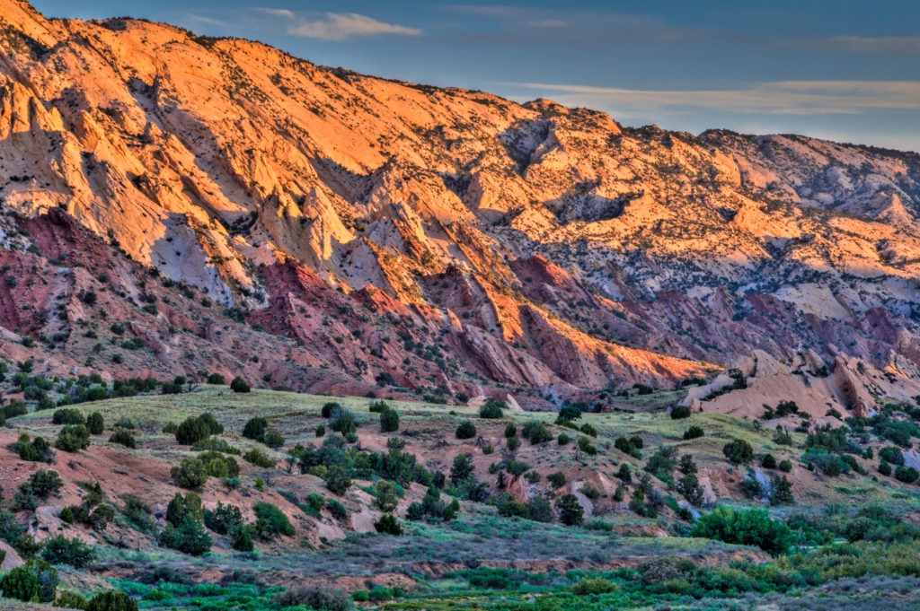 Dawn adds color in the Strike Valley of the Waterpocket fold in Capitol Reef National Park, Utah.