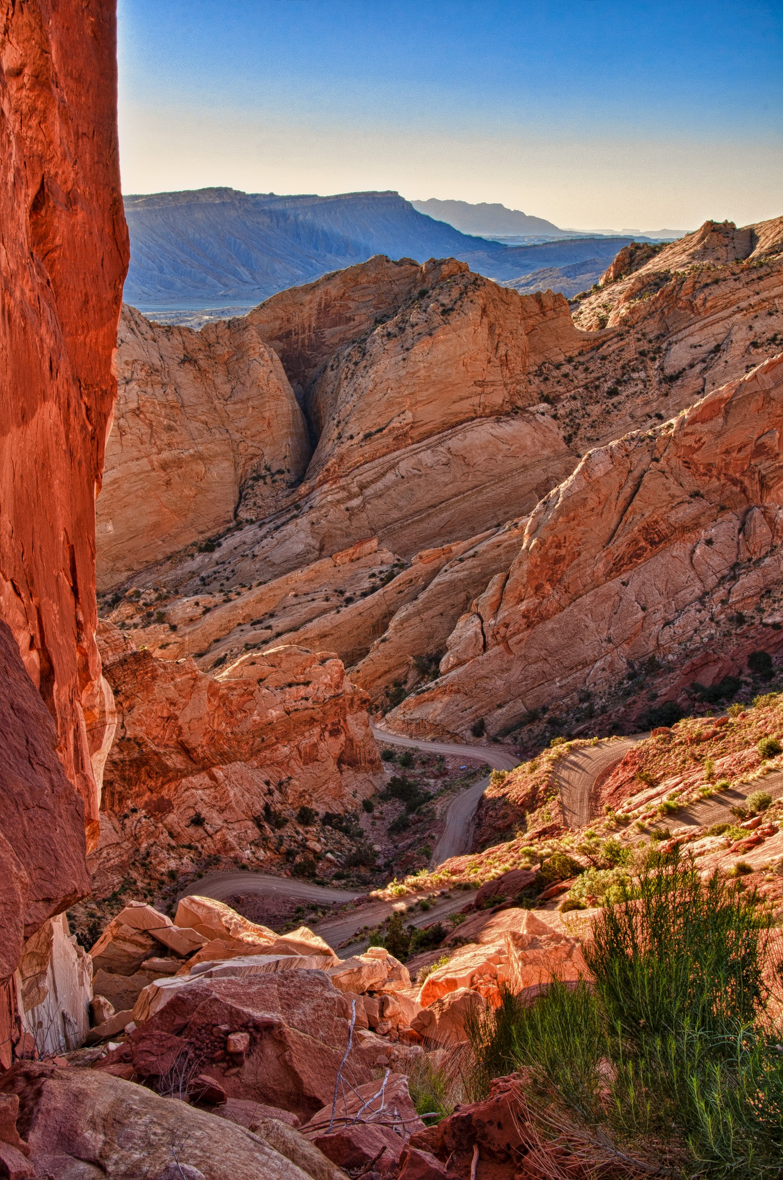 Looking back at the curvey Burr Trail as it cuts through the Waterpocket Fold in Capitol Reef National Park, Utah.