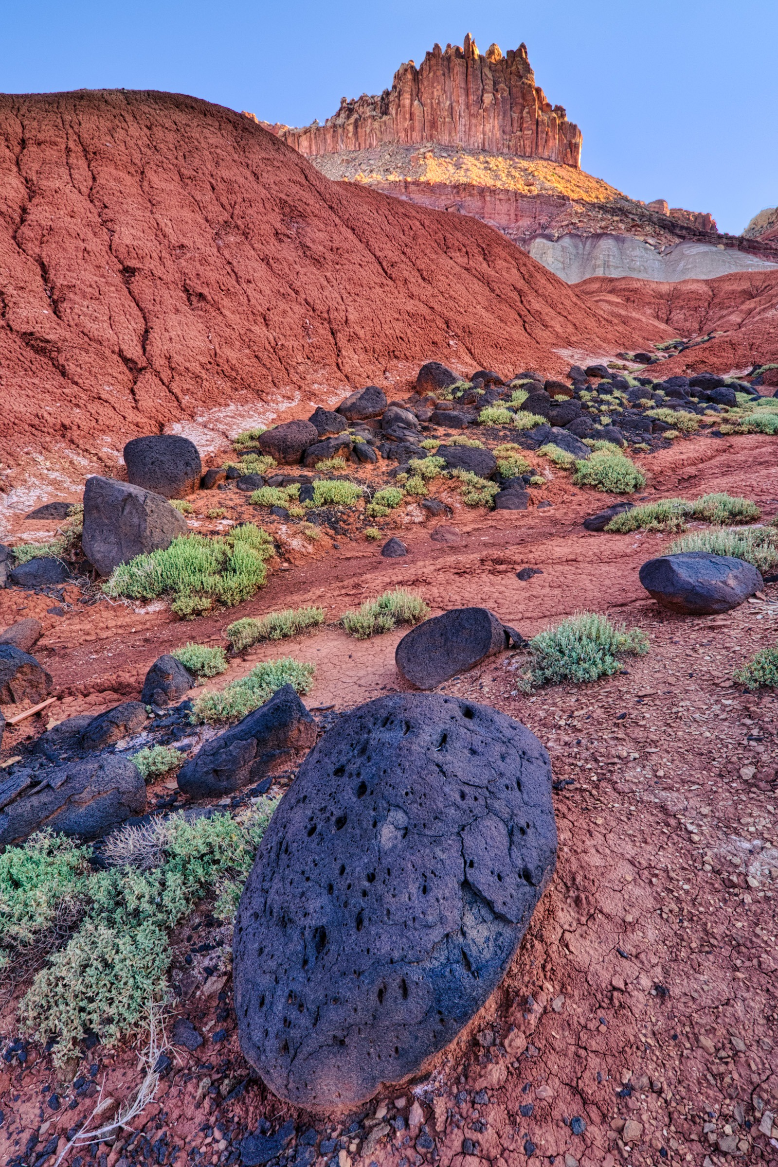 Basalt boulders along a washg descending from The Castle in Capitol Reef National Park.