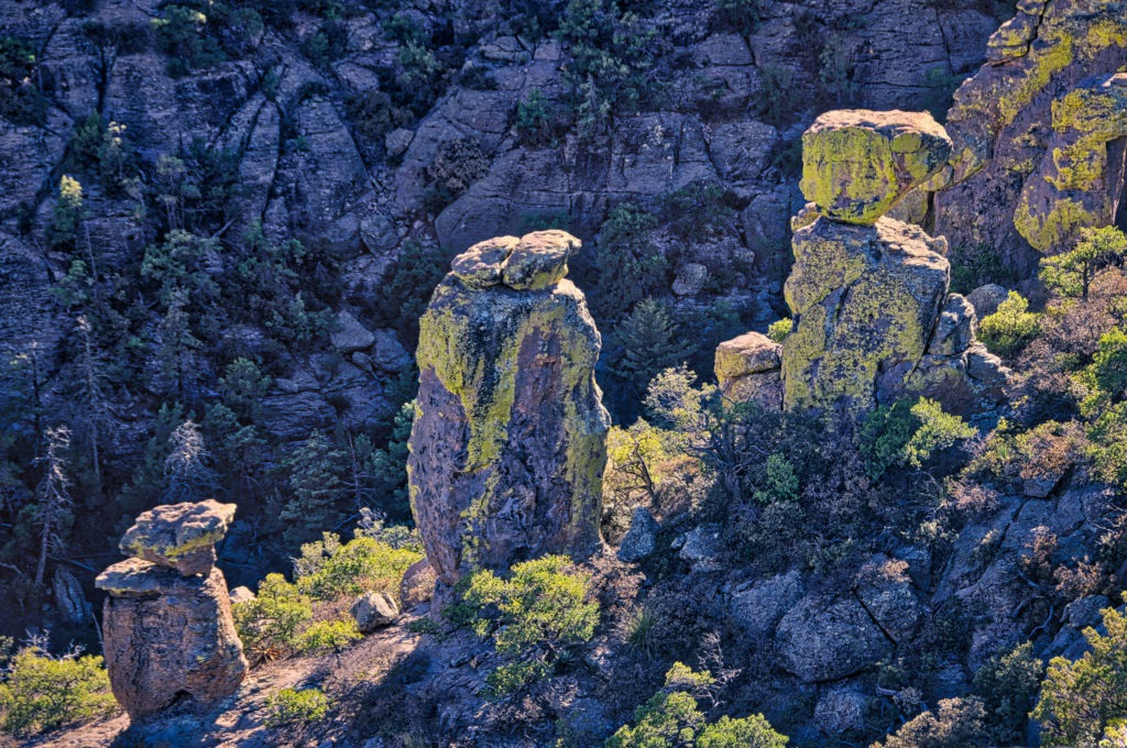 Lichen-covered columns along the edge of a canyon  in Chiricahua National Monument. The columns are formed of Rhyolite Canyon Tuff.