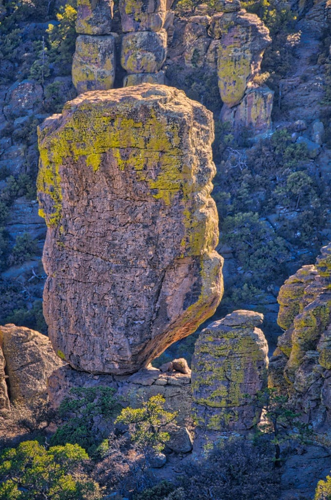 One of many balanced rocks found  in Chiricahua National Monument. The rock, as well as surrounding columns and pinnacles, are formed of Rhyolite Canyon Tuff.