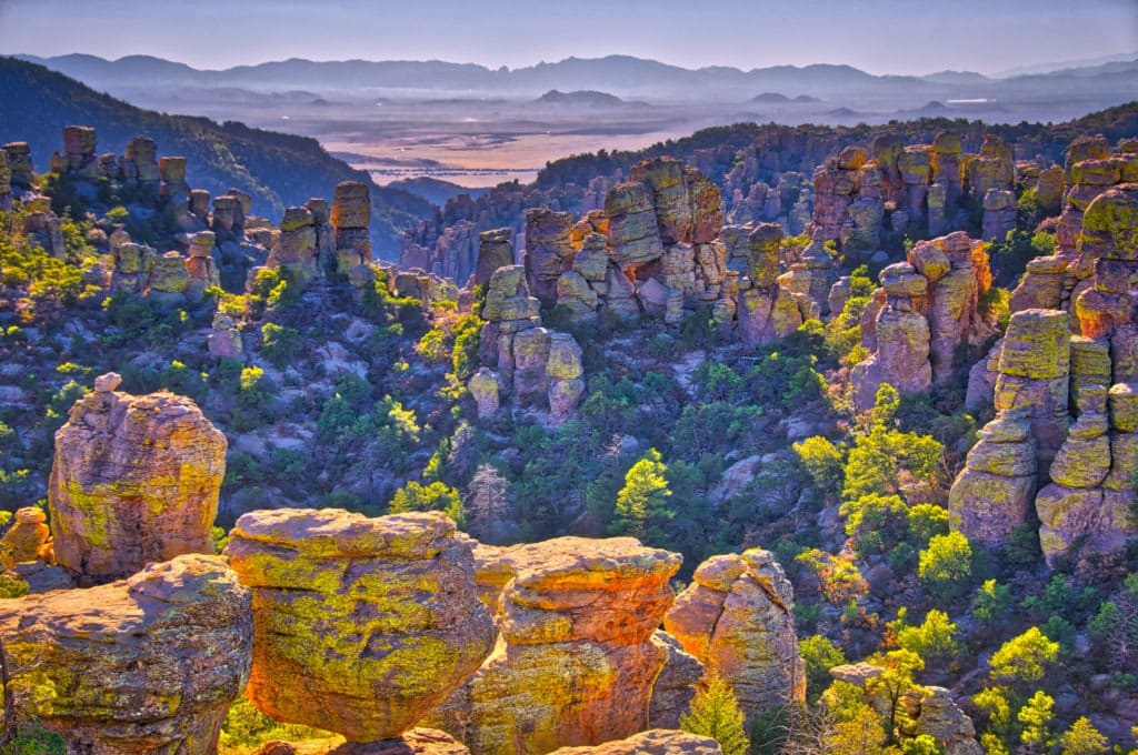 View west from Massai Point  in Chiricahua National Monument. Through Rhyolite Canyon is visible Sulfur Springs Valley.