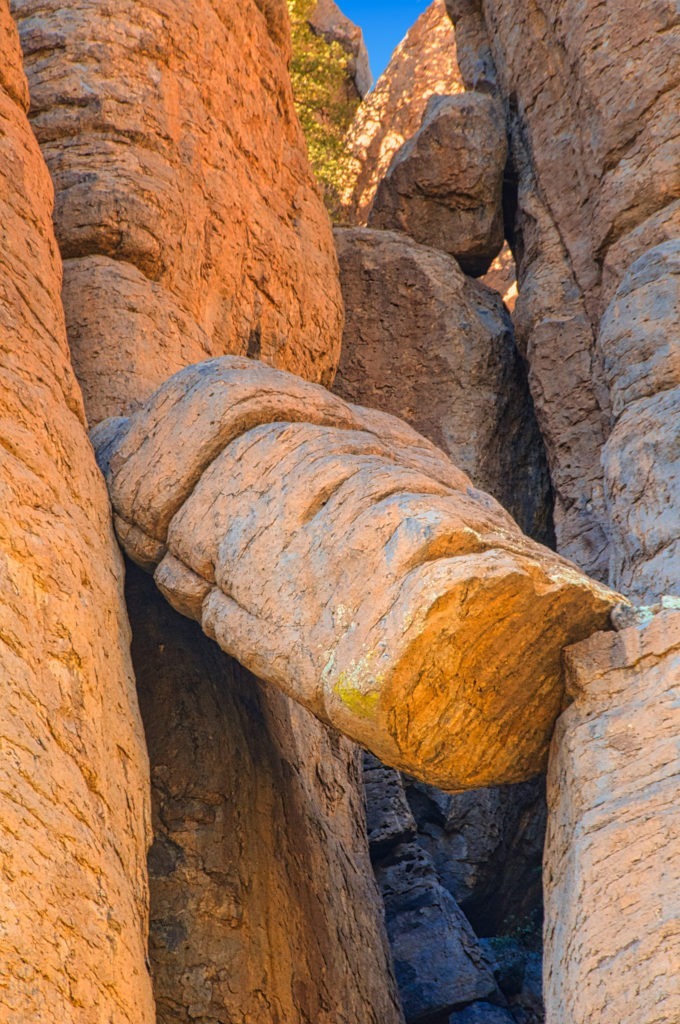 A broken column of Rhyolite Canyon Tuff that makes up the Organ Pipe formation in Chiricahua National Monument.