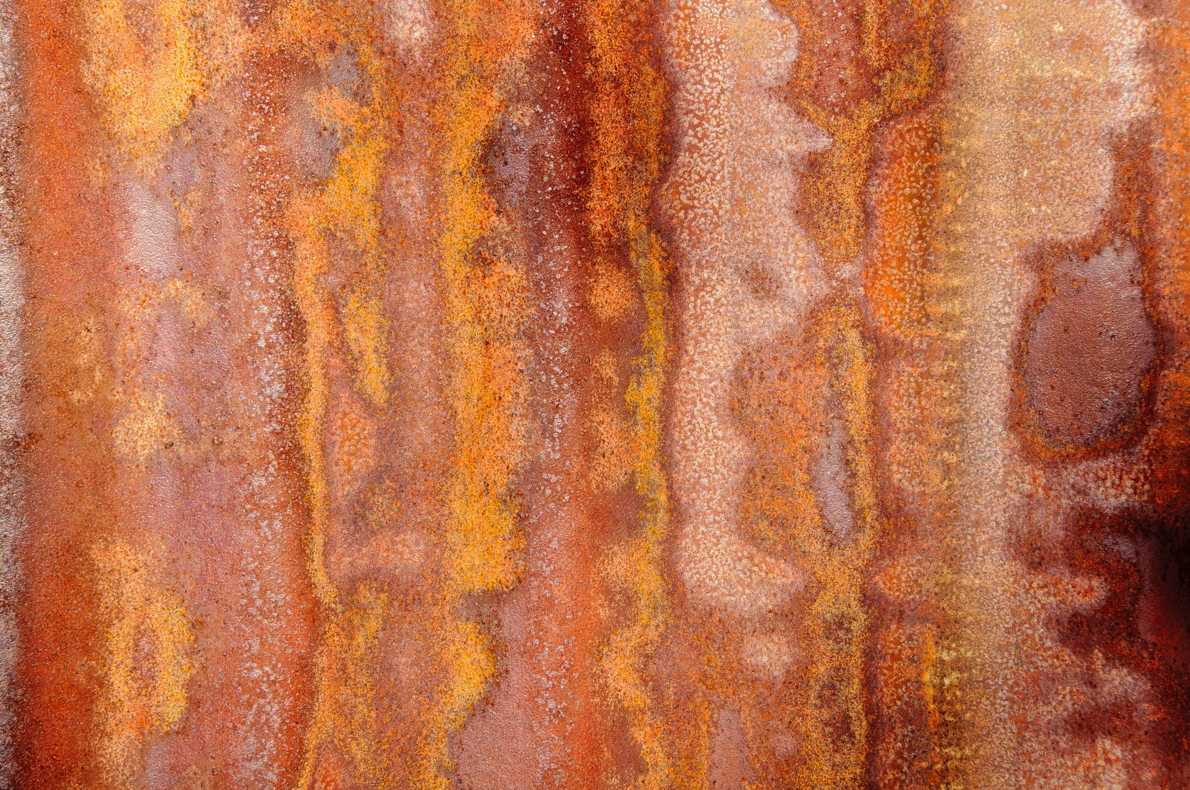 A close-up of rusty corrugated iron on an out-building at Faraway Ranch in Chiricahua National Monument in Arizona.