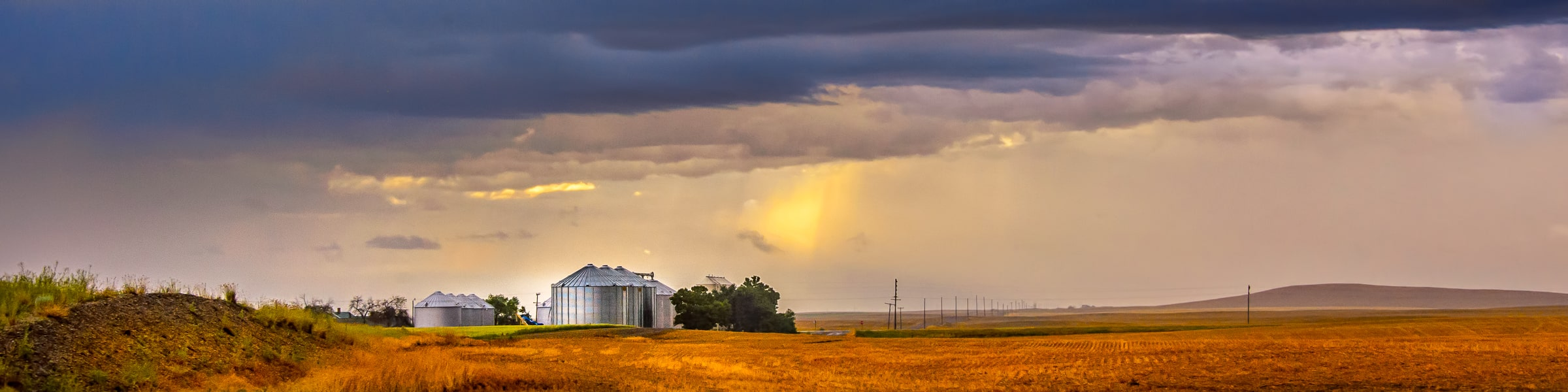 Storage silos on a wheat farm in Montana glisten in a summer storm. Montana Summer Landscapes