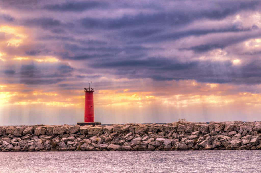 Lighthouse just outside the breakwater at Sheboygan, Wisconsin.