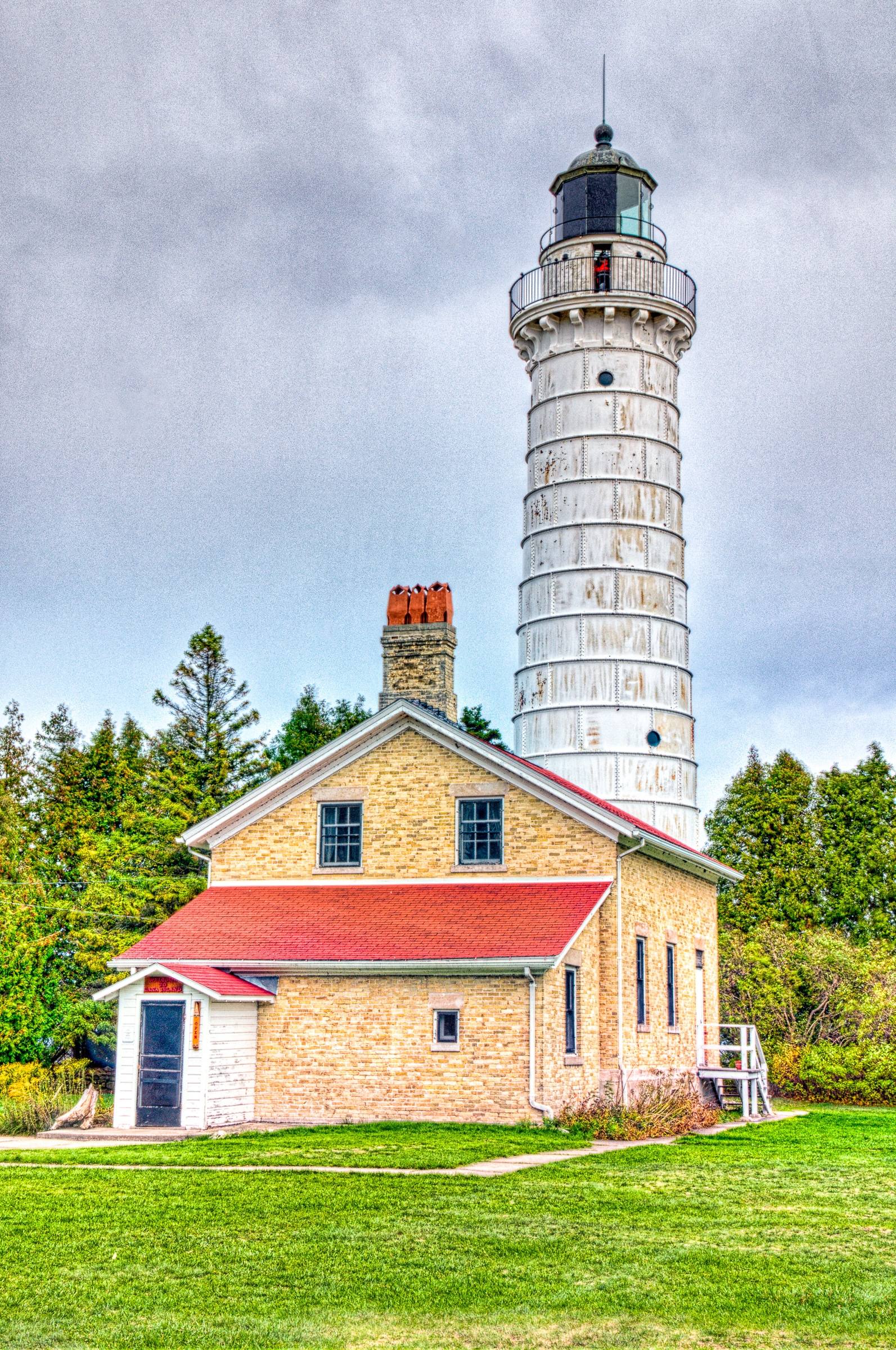 Overview of the Cana Island Lighthouse, north of Baileys Harbor, Wisconsin, on Lake Michigan.