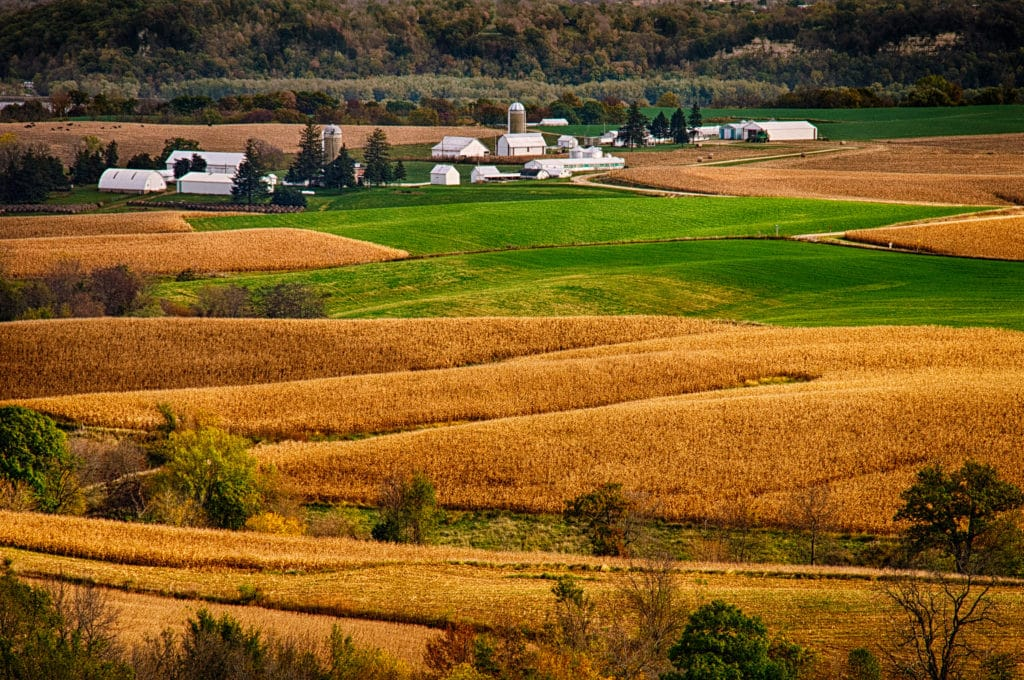 Farms and fields near Balltown, Iowa, just east of the Mississippi River.