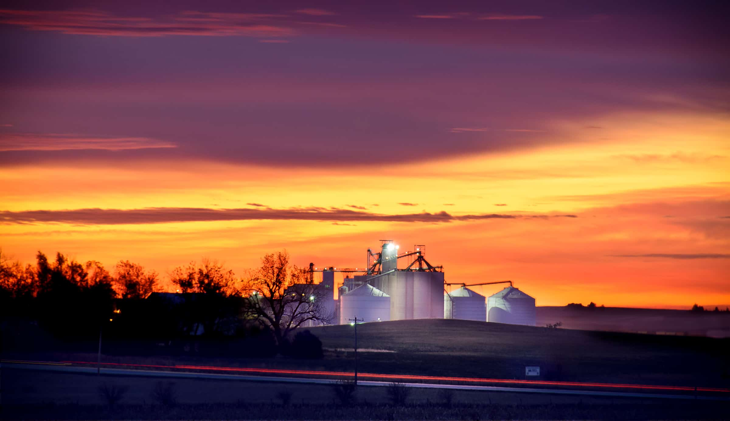 Early morning on grain-storage complex near Glidden, Iowa.