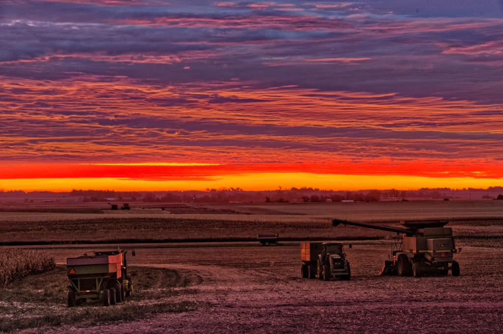 Sunrise over harvesting equipment waiting in a field near Glidden, Iowa.