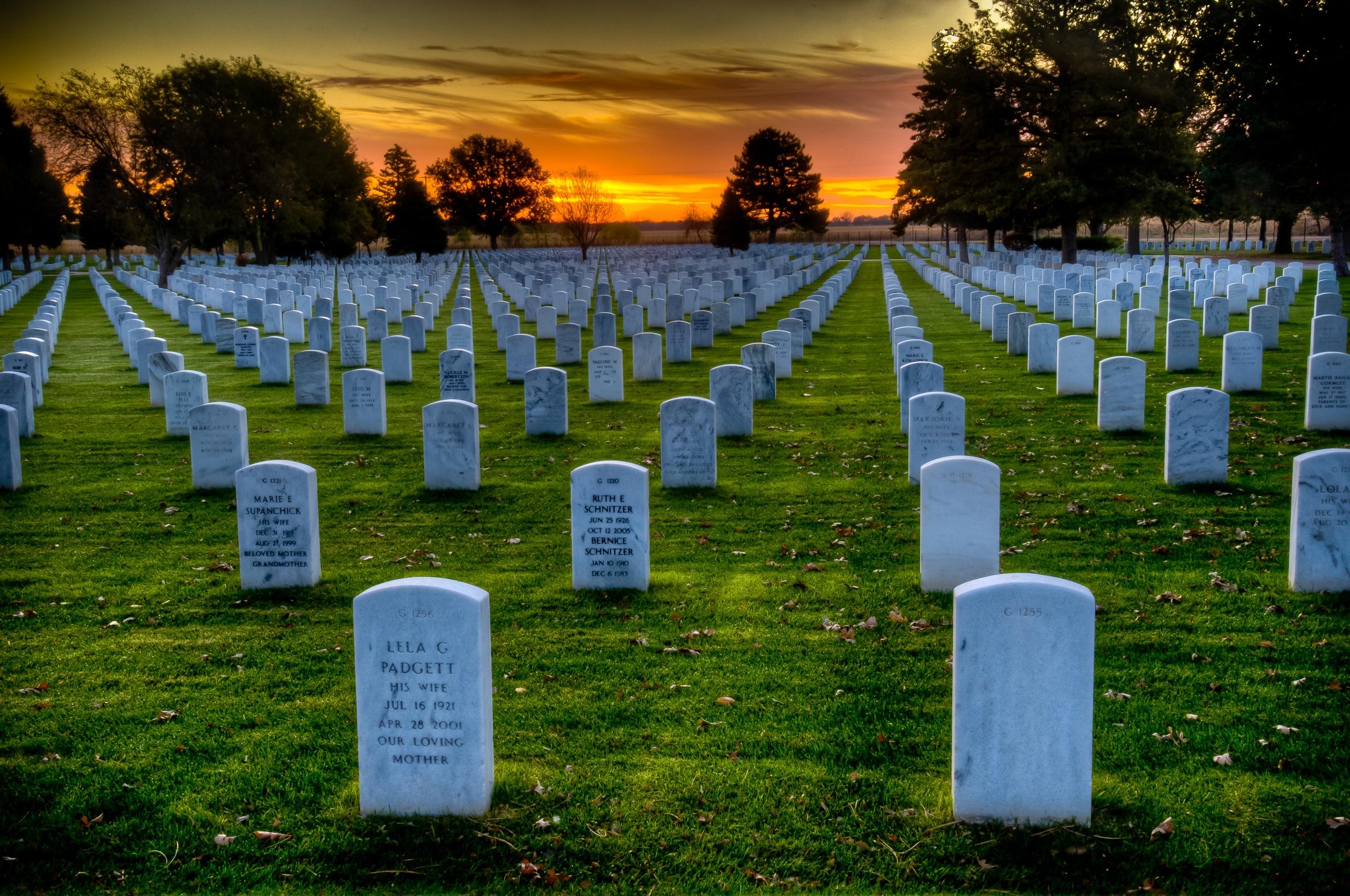 Sunrise at Fort McPherson National Cemetery in Nebraska.