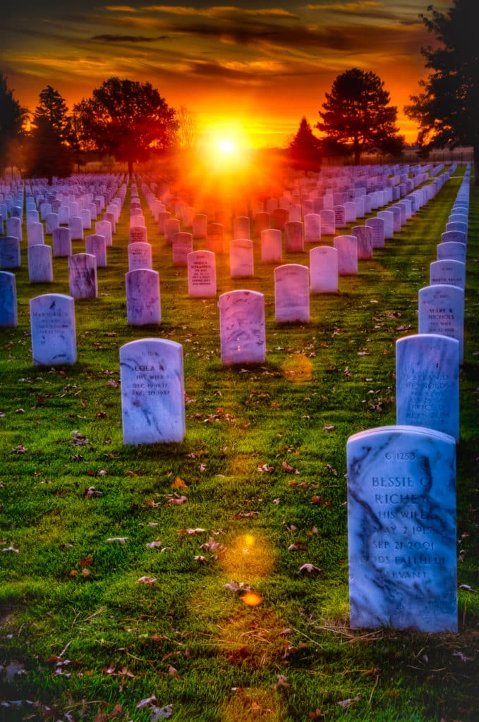 Sunrise at Fort McPherson National Cemetery in Nebraska. My title comes from the poem by Thodore O'Hara.
