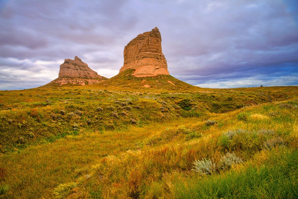Courthouse and Jail House Rocks are two rock formations located in the Nebraska Panhandle near Bridgeport.