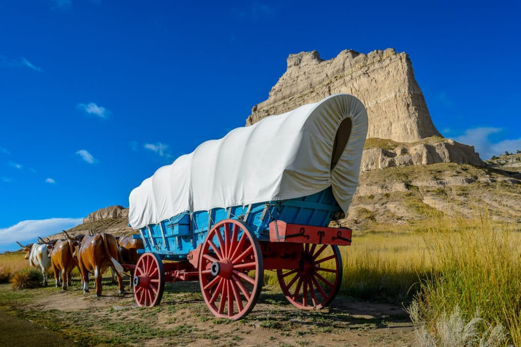 This re-creation of a Conestoga wagon with a team of oxen is prominently displayed along the entrance road to Scotts Bluff National Monument.