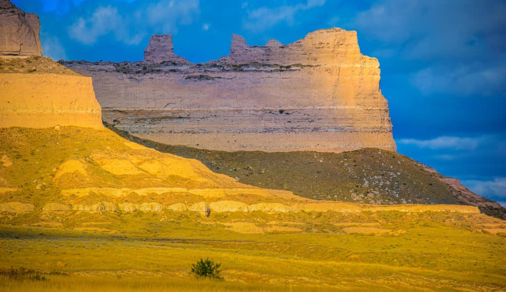 These bluffs in Scotts Bluff National Monument in Nebraska glow with the warm afternoon sunlight.